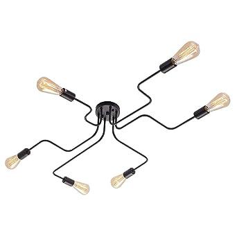 OYI Moderno Iluminación de techo Negro Lámparas de araña 6 E27 Portalámparas para salón comedor Bar Restaurante cafeteria (Sin bombilla)