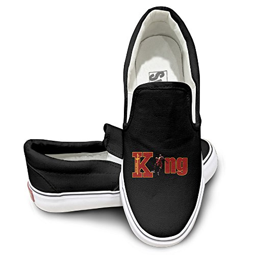 EWIED Unisex Classic Cavs King LBJ No23 Champion Slip-On Shoes Black Size40