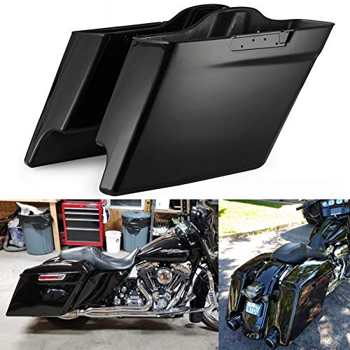 Advanblack Vivid/Glossy Black 4 1/2 inches Stretched Saddlebags Bottoms Extended Bags Fit for Harley Touring Road Glide Street Glide Electra Glide 2014 2015 2016 2017 2018 2019