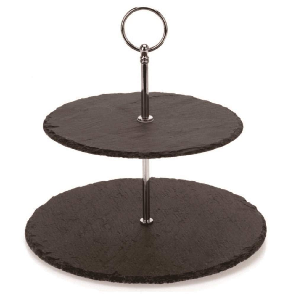 Two Tier Slate Cake Stand - Round Multi Tiered Tray Serving Plate, Cupcake Holder Display, Dessert Tower, Fruit Platter w/Stainless Steel Rods and Handle, For Wedding, Birthday - NutriChef PKCKSTD10 by Nutrichef