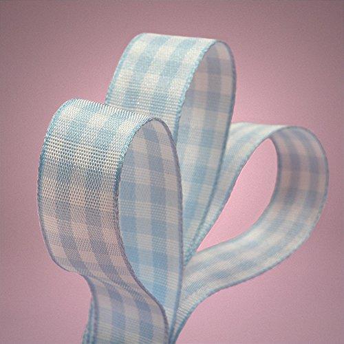 Light Blue Gingham Grosgrain Ribbon - 3/8in. Width - 25 Yards
