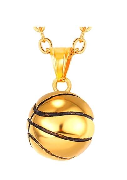 ac95b7d669b Collier ballon de basket sport plaqué or acier inoxydable  Amazon.fr ...