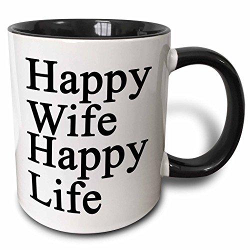 3dRose mug 218585 4 Happy Black White