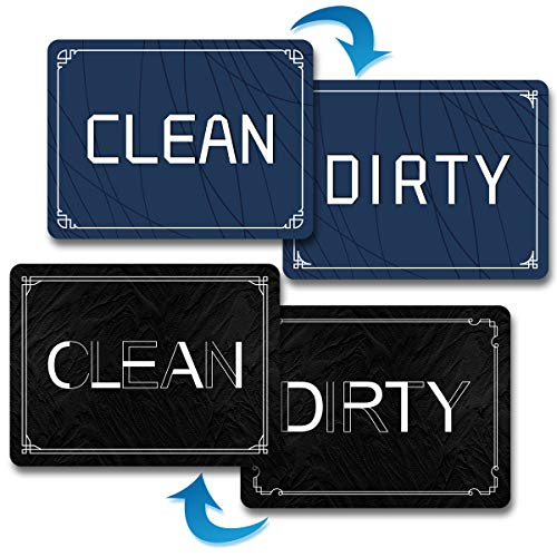 Clean Dirty Magnet for Dishwasher, 2 Pcs 4×3inches Unique Simple Design Double Sided Reversible Indicator Sign…