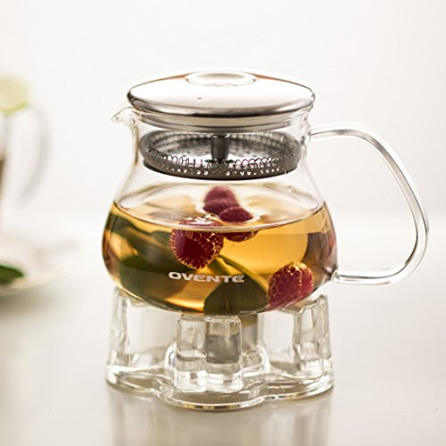 Ovente Glass Teapot, 17 oz, with Stainless Steel Mesh Filter, Heat Tempered Borosilicate Glass with Glass Teapot Warmer (FGB17T)