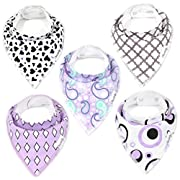 Baby Bandana Drool Bib Gift Set (5-Pack) for Girls Diamonds and Pearls Set by Oma & Opa