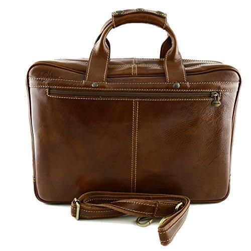 Business Laptop Tasche Aus Echtem Leder Farbe Cognac - Italienische Lederwaren - Aktentasche