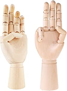 "Greatstar 12"" Art Mannequin Hand,Wooden Flexible Left/Right Hand for Home Office Desk Joints Kids Children Toys Gift For Drawing, Sketching, Painting Etc (left+right hand)"