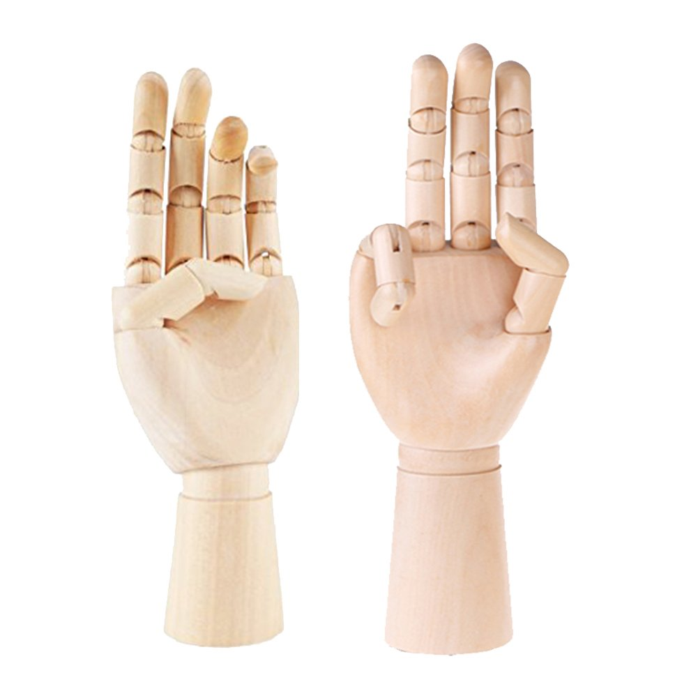 Greatstar 12'' Art Mannequin Hand,Wooden Flexible Left/Right Hand for Home Office Desk Joints Kids Children Toys Gift For Drawing, Sketching, Painting Etc (left+right hand) by Greatstar