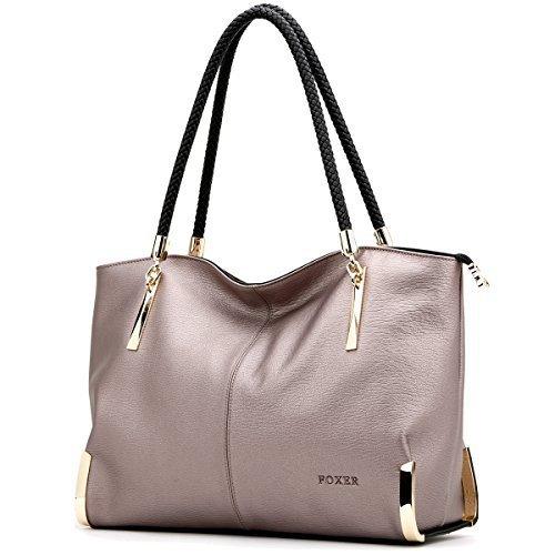 FOXER Women Handbag Leather Tote Purse Shoulder Bag Top Handle Handbags Gray