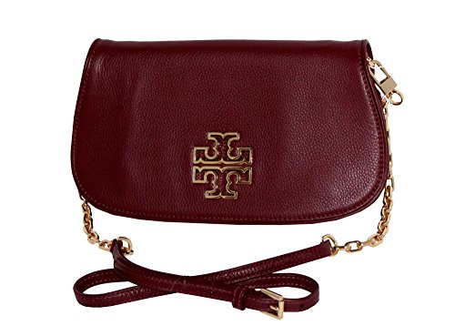 39055 agate Leather red Tory Bag Clutch Crossbody Burch Britten Tote zCffxqwPan