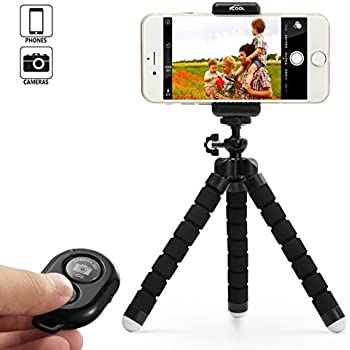 KCOOL Octopus Style Portable and Adjustable Tripod Stand Holder for iPhone, Cellphone,Camera with Universal Clip and Remote (Black)
