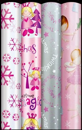 4 x christmas wrapping paper rolls girls fairy princess snow silver stars