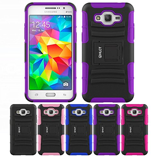 Price comparison product image Galaxy Grand Prime Case,  HLCT Rugged Shock Proof Dual-Layer PC and Soft Silicone Case With Built-In Kickstand for Samsung Galaxy Grand Prime (2014) (Purple)