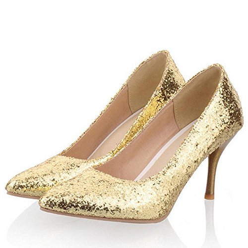 Pumps RAZAMAZA High Heel Women Gold Glitter wRPt1q
