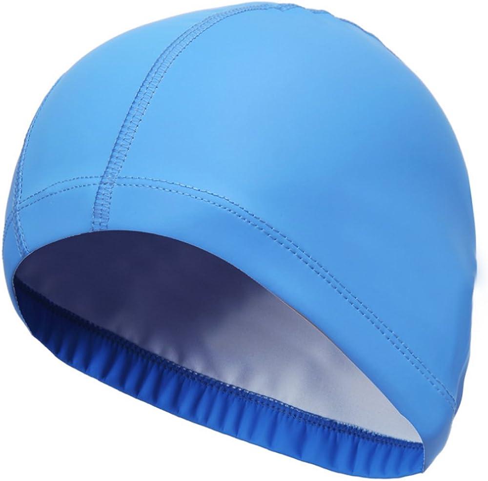 Rrunzfon Gorro de Natación Unisex PU Transpirable Impermeable Gorro de Baño Cuidado del Cabello Protección Oídos: Amazon.es: Ropa y accesorios