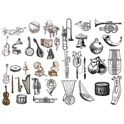 (Seasonstorm Black Sketch Classical Musical Instruments Waterproof Decor Planner Sticker Pack Post It Notebook Agenda Toy Scrapbooking Stickers (PK204))