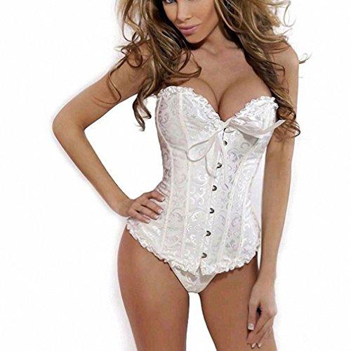 Women Sexy Satin Corset Brocade Floral Bustier Top Lace Up Back Lingerie Bodyshaper Waist Corsets Shapewear Plus Size White L
