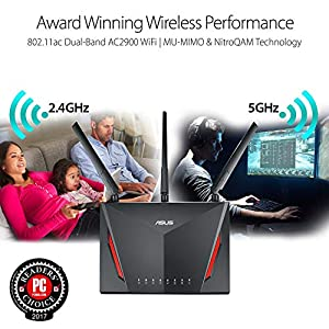 ASUS AC2900 WiFi Gaming Router (RT-AC86U) - Dual Band Gigabit Wireless Internet Router, WTFast Game Accelerator, Gaming…