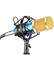 Neewer® NW-800 Professional Studio Broadcasting & Recording Microphone Set,including (1)NW-800 Professional Condenser Microphone + (1)Microphone Shock Mount + (1)Ball-type Anti-wind Foam Cap + (1)Microphone Power Cable Blue(gold)