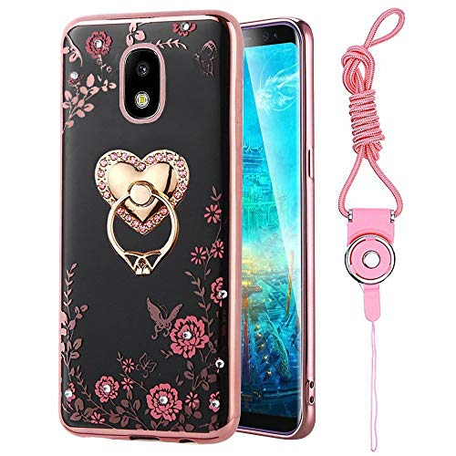 Aura Heart - Galaxy J7 2018/J7 V 2nd Gen/J7 Aero/J7 Star/J7 Top/J7 Aura/J7 Refine Case, ZHFLY Shockproof Bling Protective Rubber Soft Case Cover & Tempered Glass Screen Protector for Samsung Galaxy J7 2018