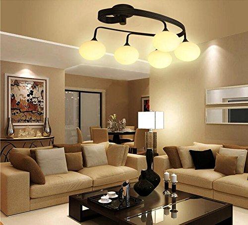 SSBY Kronleuchter Decke Eisen loft Café American Wohn-und Schlafzimmer Deckenlampe Eisen 5 runde gläserne Decke leuchter , 3 Kopf (mit warmem Licht energiesparende Lichtquelle)