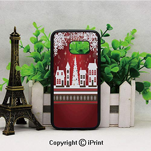 Winter Holidays Theme Gingerbread House Tree Lights and Snowflakes Art Samsung S7 Case Black Soft TPU and PC Protection Anti-Slippery Case for Samsung S7 Red White]()