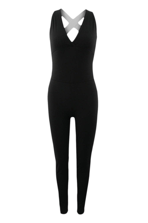 YACUN Womne's Sleeveless V-Neck Backless Sport Yoga Jumpsuits CAMltZC2065
