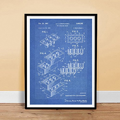 LEGO Poster Toy Building Construction Blocks Blueprint 1961 US Patent Print Legos Gift Reproduction