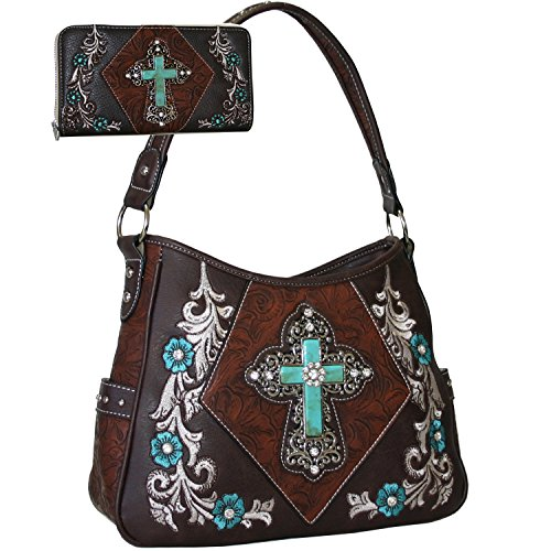 Western Rhinestone Studs Cross Floral Embroidered Handbag Purse With Matching Wallet -Brown
