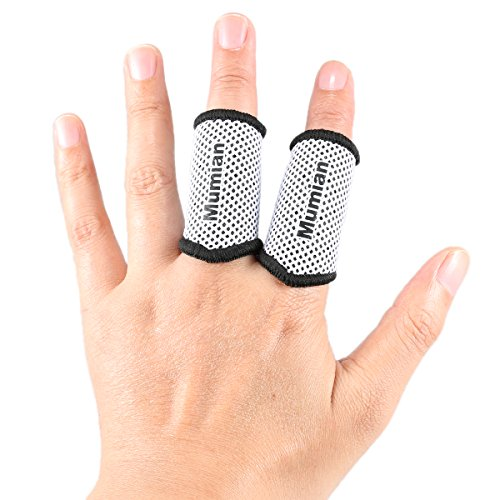 - Sports Elastic Finger Sleeves Support Thumb Brace Protector Breathable Elastic Finger Tape for Basketball, Tennis,Baseball, Cycling, Volleyball, Badminton, Boating A71 White-M