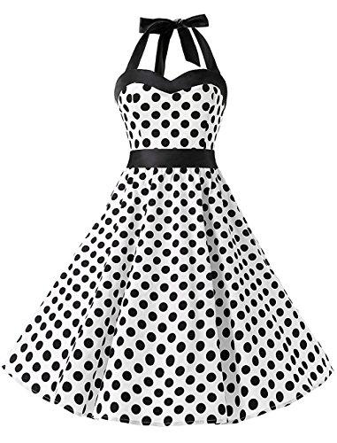 KUONUO Donne 1950's Audrey Hepbun Vintage con allacciatura al collo di polka dots cocktail vestito Bianco