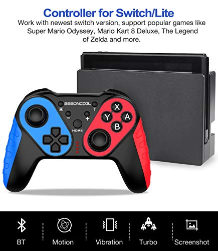 Wireless Controller for Switch/Switch Lite, Extra Controller for Pro Controller, BEBONCOOL Q44A-BBC-US No Amibo Pro Controller, Wireless Switch Remote with Turbo, Motion,Vibration Functions