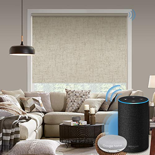 Graywind Motorized 100% Blackout Roller Shade with Alexa Google Smart Home Control Build-in Power Window Shades Thermal Insulated Cordless Window Blinds, Customized Size (Linen Beige)