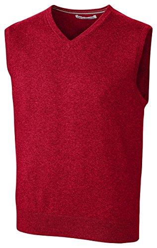 Cutter & Buck Men's Cotton-Rich Lakemont Anti-Pilling V-Neck Sweater Vest, Cardinal red, Large
