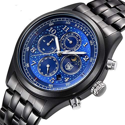 Men's Watches Blue Chronograph Sport Waterproof Watch Date Shows The Analog Star Quartz Watch