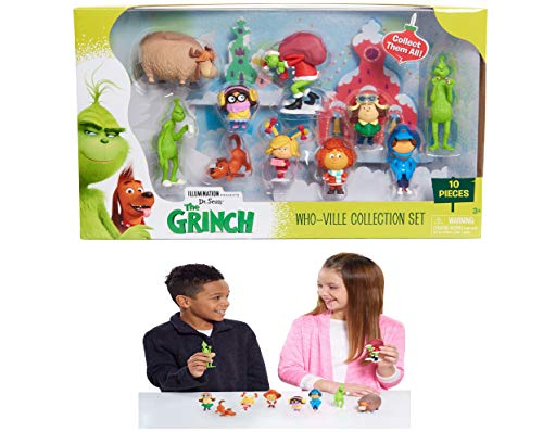 The Grinch Who-Ville Collection Set - 10 Deluxe Figures, Feature Amazing Character Detail, Come in Dynamic Poses, Great for Both Kids and Collectors!