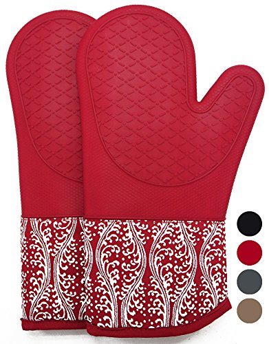 Heat Resistant Silicone Oven Mitts With Quilted Cotton Lining, 1 Pair Non - Slip Extra long Kitchen Glove for BBQ, Cooking, Baking, Grilling, Barbecue, Mimicrowave, Machine Washable - Tiffany Cat White