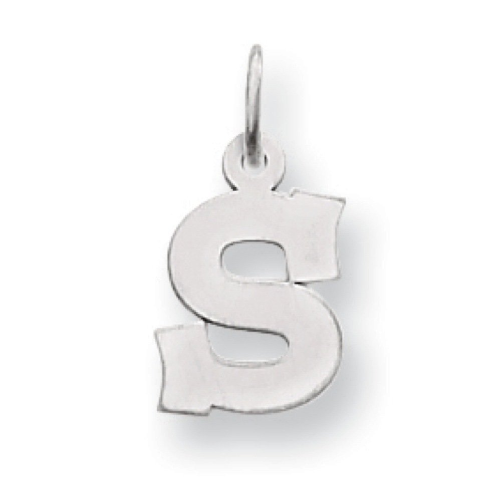 14k White Gold Polished Small Block Initial S Charm Pendant 18mmx11mm