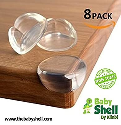 THE BABY SHELL Baby Caring Corner 8-pack Premium Clear Corner Guards | Baby safety | 8 FREE Outlet Plug Protectors | Love them and keep them Safe | Protect From Injury Around the House