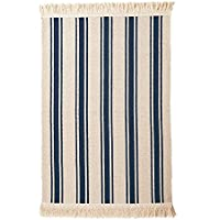 Ikea Flatwoven Area Kitchen Rug Stripes Cotton Beige Blue Throw Mat