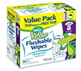 Pampers Kandoo Flushable Wipes Sensitive 350 Ct (Pack of 4)