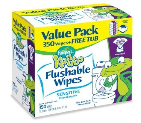 Pampers Kandoo Flushable Wipes Sensitive 350 Ct (Pack of 4) by Pampers