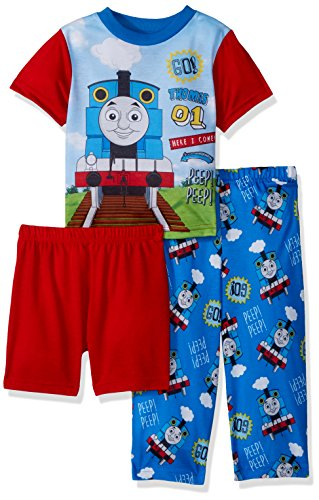 Train Animated - Thomas The Train Boys' Toddler Choo 3-Piece Pajama Set, Blue, 4T