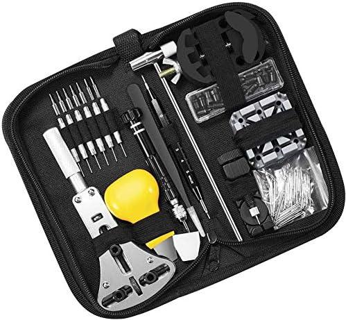 153 PCSウォッチ修理キット、多機能時計電池交換ツールキット時計バンドリンクピンツールセット