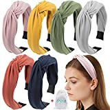 EAONE Knotted Headbands for Women 6 Colors, Top Knot Turban Headband Wide Plain Headbands Knitted Elastic Hair Bands Headbands for Girls with 1 PC Pouch Bag
