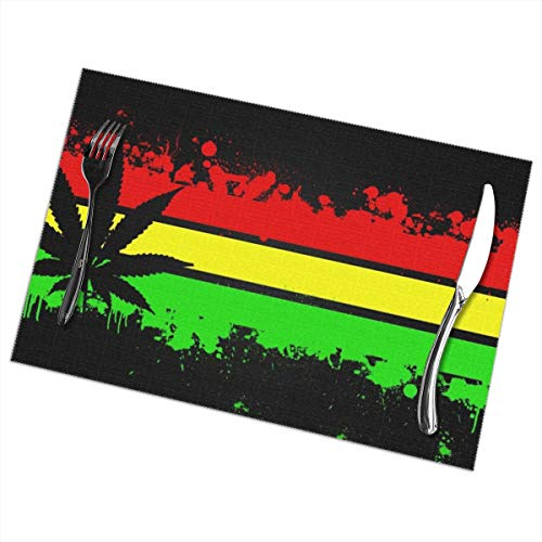 Rastafarian Wallpapers Red Yellow Green Weed 6 Piece Set Of Placemats Pc Party Kitchen Dining Room Home Table Place Mat Patio Holidays Decorations Decor Ornament Themed Print Pattern Kid Girls]()