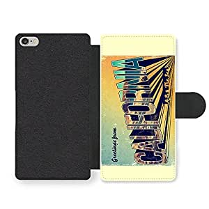 Retro Postcard Funny Cool California Travel Style Faux Leather case for iPhone 6 6S