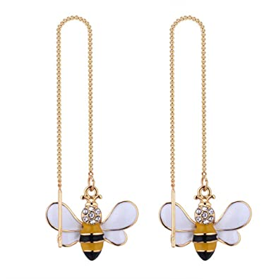 WLLAY Cute Insect Bee Threader Dangle Earrings Tiny Yellow Bumble Bee Earrings for Women Girls