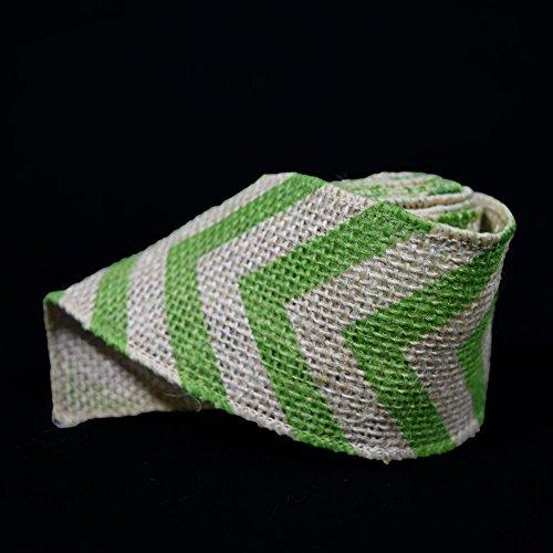 PaperLanternStore.com Burlap Fabric Wrap Roll w/Apple Green Chevron Pattern (2.4 x 6 Ft) -